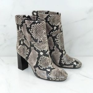 Tory Burch Devon Snake Print Ankle Booties 6.5